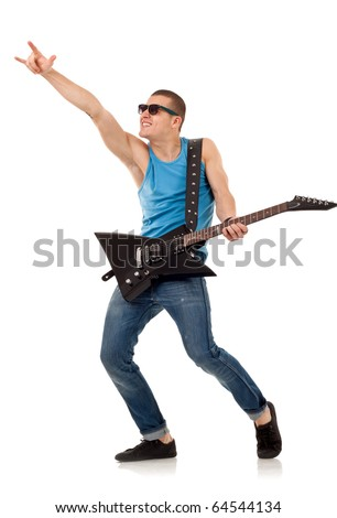 Picture of handsome guitarist in sunglasses making a rock gesture