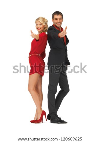 picture of handsome man and lovely woman showing thumbs up