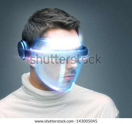 picture of handsome man with digital glasses