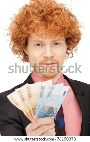 picture of handsome man with euro cash money