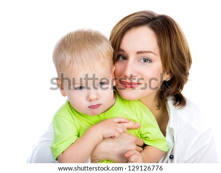picture of happy mother with son over white