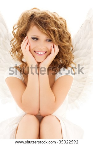 stock photo picture of happy teenage angel girl over white 35022592 This is a new girl in the porn market her name is Angel Woods.