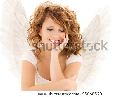 picture of happy teenage angel girl over white - stock photo