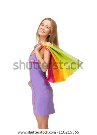 picture of happy teenage girl with shopping bags