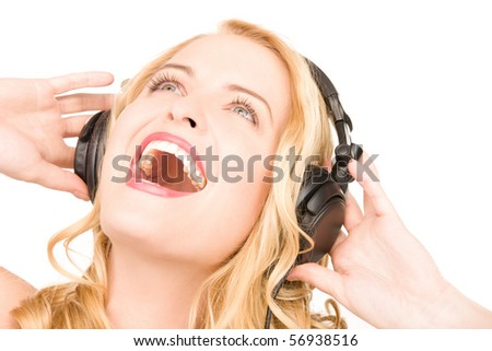 picture of happy woman in headphones over white #56938516