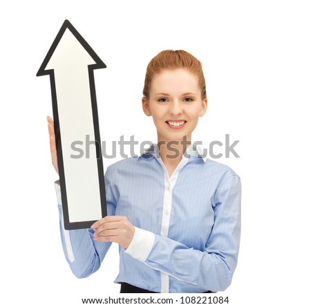 picture of happy woman with direction arrow sign