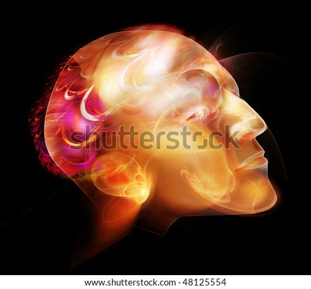 Picture  of head of man without hairs. Fairy-tale luminous style