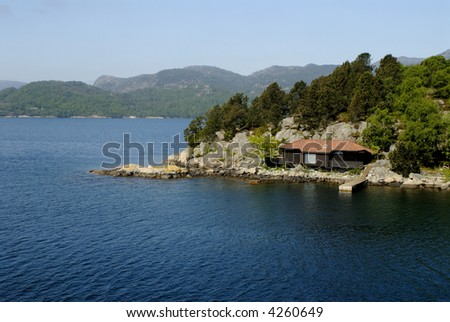 Picture of house in Lysefjord - fjord near Stavanger in Norway.