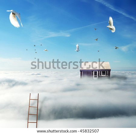 picture of house on the clouds with birds and stairs