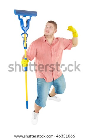 Picture of joyful  professional cleaner. Isolated over white.