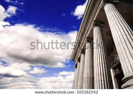 Picture of large greek freestone columns .