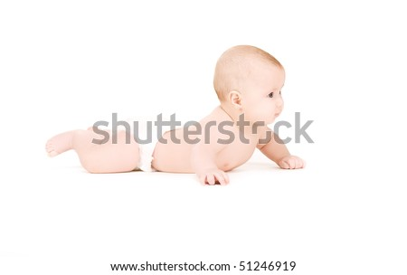picture of laying baby boy in diaper over white