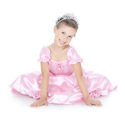 Picture of little princess girl in silver crown and pink dress over white