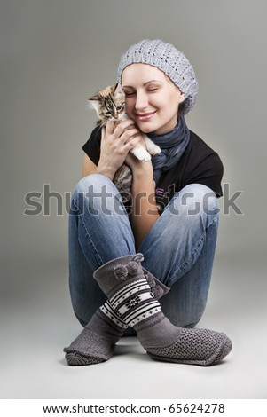 Picture of lovely girl and cat - stock photo