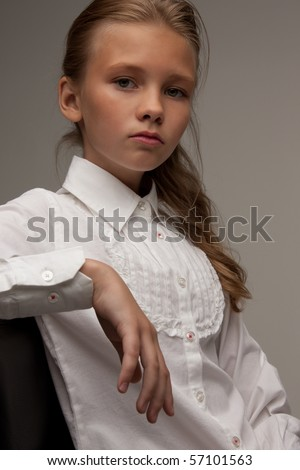 picture of lovely girl over grey background