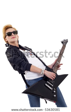 picture of lovely girl with red guitar over white