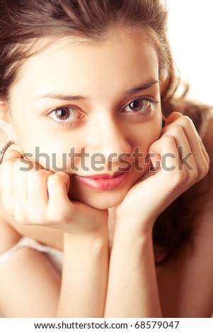 picture of lovely long hair girl over white