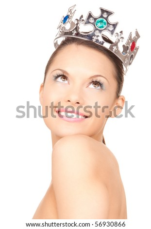 picture of lovely woman in crown over white