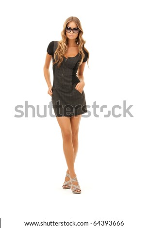 picture of lovely woman in dress over white