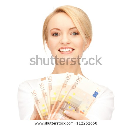 picture of lovely woman with euro cash money.
