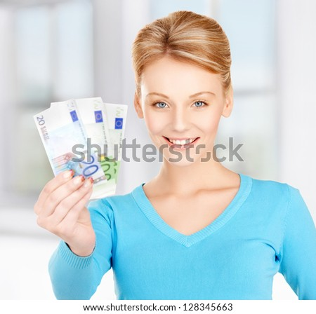 picture of lovely woman with euro cash money