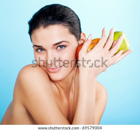 picture of lovely woman with fruit