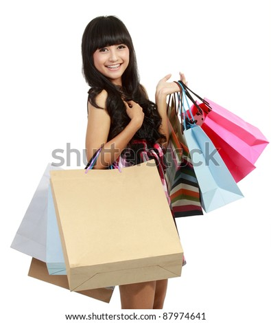 picture of lovely woman with shopping bags in isolated white