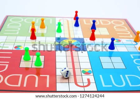 Picture of ludo game. Board game are the best entertainment for children's and adults.