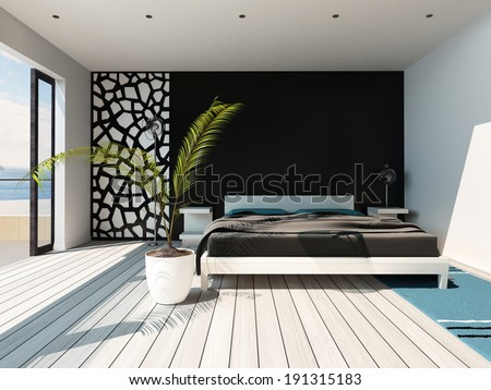 Picture of luxurious bedroom interior with king-size bed #191315183