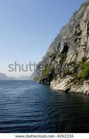 Picture of Lysefjord - fjord near Stavanger in Norway. - stock photo