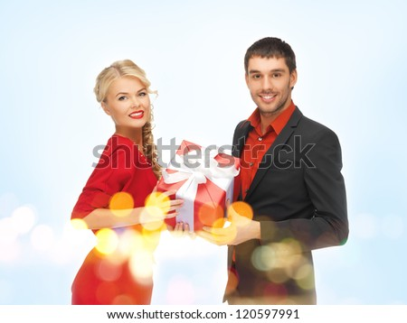 picture of man and woman with present