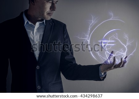 Picture of man holding a lightning strike