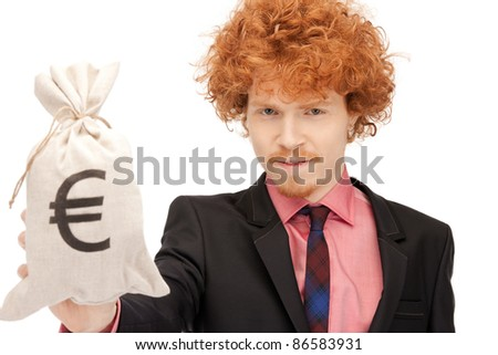 picture of man with euro signed bag