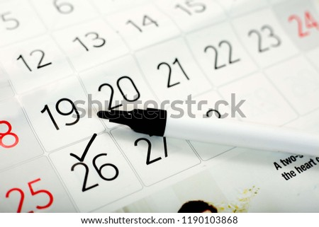 Picture of marker on the calendar page.
