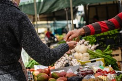 Picture of marketplace with different fruits. Buyer's and seller's hands on colorful background outdoors