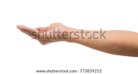 picture of Men hand showing the Face up in front side over white background, include clipping path