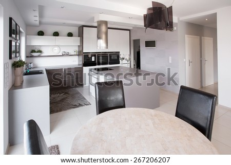 Picture of modern furniture in designed kitchen