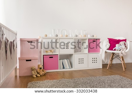 Picture of modern kids storage furniture in baby room