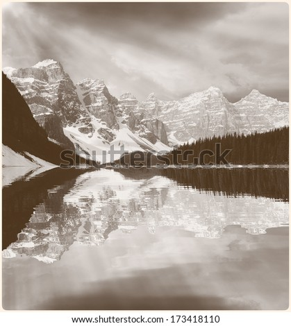 Picture of Moraine lake in vintage style. Banff National park. Canadian Rockies.