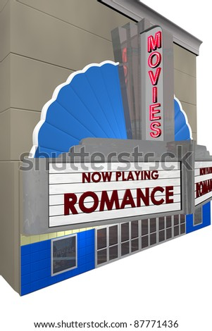 """Picture of movie theater taken at angle showing marques with """"Romance"""" no playing."""