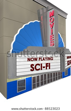 """Picture of movie theater taken at angle showing marques with """"Scifi"""" now playing."""