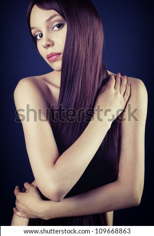 Picture of naked brunette with long hair