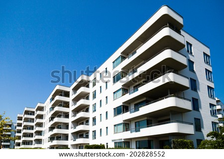 Picture of new-built residential building on a sunny summer day in Hellerup, a suburb of Copenhagen, Denmark. #202828552