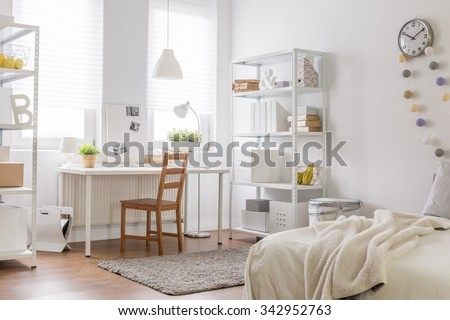 Picture of new room with vintage wood chair #342952763