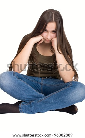 Picture of offended girl sitting on the floor