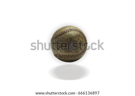 picture of old softball on white background