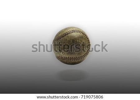 picture of old softball on white background.used sport concept