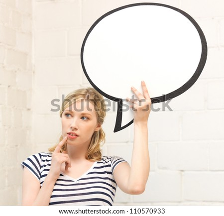 picture of pensive teenage girl with blank text bubble