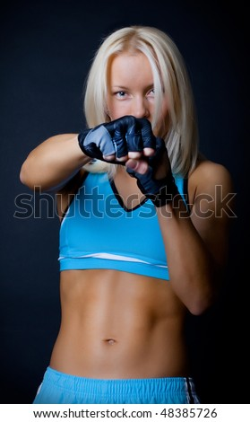 Picture of pretty athlete fighting