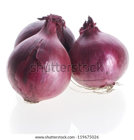 Picture of red onions on a white, isolated background